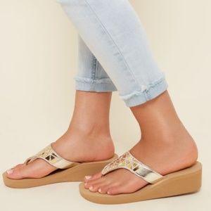 NEW Tan Glittering Rhinestones Geo Wedge Sandals